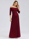 Women Fashion Strapless 3/4 Sleeve Split Long Cocktail Dresses Ep07852-Burgundy 1