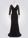 Women Elegant V Neck Half Sleeves Lace Evening Cocktail Dress Ep07856-Black 6
