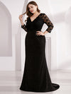 Women Elegant V Neck Half Sleeves Lace Evening Cocktail Dress Ep07856-Black 10