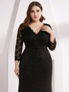 Plus Size Women Elegant V Neck Half Sleeves Lace Evening Cocktail Dress Ep07856-Black 5