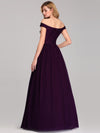 Women'S A-Line Off Shoulder Floor-Length Bridesmaid Dress Ep07868-Dark Purple 2