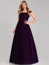 Women'S A-Line Off Shoulder Floor-Length Bridesmaid Dress Ep07868-Dark Purple 3
