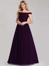 Women'S A-Line Off Shoulder Floor-Length Bridesmaid Dress Ep07868-Dark Purple 4