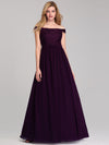 Women'S A-Line Off Shoulder Floor-Length Bridesmaid Dress Ep07868-Dark Purple 1