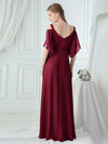 Women'S Off Shoulder Floor Length Bridesmaid Dress With Ruffle Sleeves-Burgundy 7