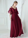 Women'S Off Shoulder Floor Length Bridesmaid Dress With Ruffle Sleeves-Burgundy 8