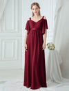 Women'S Off Shoulder Floor Length Bridesmaid Dress With Ruffle Sleeves-Burgundy 9