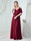 Women'S Off Shoulder Floor Length Bridesmaid Dress With Ruffle Sleeves-Burgundy 6