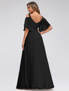 Women'S A-Line Off Shoulder Floor Length Bridesmaid Dresses Ep07871-Black 2