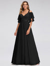 Women'S A-Line Off Shoulder Floor Length Bridesmaid Dresses Ep07871-Black 1