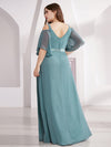 Women'S Off Shoulder Floor Length Bridesmaid Dress With Ruffle Sleeves-Dusty Blue 12