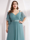 Women'S Off Shoulder Floor Length Bridesmaid Dress With Ruffle Sleeves-Dusty Blue 15