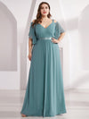 Women'S Off Shoulder Floor Length Bridesmaid Dress With Ruffle Sleeves-Dusty Blue 11