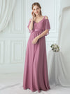 Women'S A-Line Off Shoulder Floor Length Bridesmaid Dresses Ep07871-Purple Orchid 8