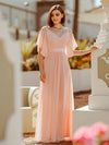 Women'S Off Shoulder Floor Length Bridesmaid Dress With Ruffle Sleeves-Pink 1