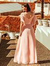 Women'S Off Shoulder Floor Length Bridesmaid Dress With Ruffle Sleeves-Pink 2