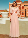 Women'S Off Shoulder Floor Length Bridesmaid Dress With Ruffle Sleeves-Pink 4