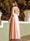 Women'S Off Shoulder Floor Length Bridesmaid Dress With Ruffle Sleeves-Pink 5