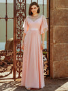 Women'S Off Shoulder Floor Length Bridesmaid Dress With Ruffle Sleeves-Pink 7