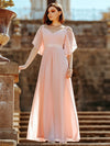 Women'S Off Shoulder Floor Length Bridesmaid Dress With Ruffle Sleeves-Pink 8