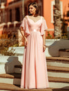 Women'S Off Shoulder Floor Length Bridesmaid Dress With Ruffle Sleeves-Pink 9