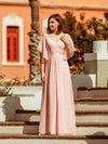 Women'S Off Shoulder Floor Length Bridesmaid Dress With Ruffle Sleeves-Pink 10