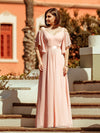Women'S Off Shoulder Floor Length Bridesmaid Dress With Ruffle Sleeves-Pink 11