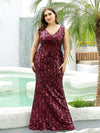 Plus Size Maxi Long V Neck Mermaid Sequin Prom Dresses for Women-Burgundy 1