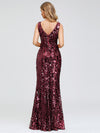 Mermaid Sequin Dresses For Women-Burgundy  2