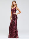 Mermaid Sequin Dresses For Women-Burgundy  3