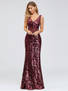 Mermaid Sequin Dresses For Women-Burgundy  4