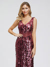 Mermaid Sequin Dresses For Women-Burgundy  5