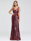 Mermaid Sequin Dresses For Women-Burgundy  1