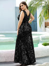 Plus Size Maxi Long V Neck Mermaid Sequin Prom Dresses for Women-Black 2