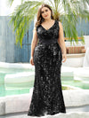 Plus Size Maxi Long V Neck Mermaid Sequin Prom Dresses for Women-Black 3