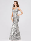 Mermaid Sequin Dresses For Women-Grey  3