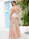 Plus Size Maxi Long V Neck Mermaid Sequin Prom Dresses for Women-Rose Gold 2