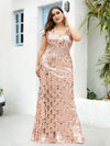 Plus Size Maxi Long V Neck Mermaid Sequin Prom Dresses for Women-Rose Gold 3