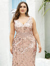 Plus Size Maxi Long V Neck Mermaid Sequin Prom Dresses for Women-Rose Gold 5