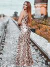 Mermaid Sequin Dresses For Women-Rose Gold  12