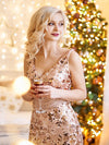 Mermaid Sequin Dresses For Women-Rose Gold  8