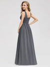 Women'S A-Line Deep V-Neck Evening Party Maxi Dress Ep07880-Grey 2