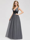 Women'S A-Line Deep V-Neck Evening Party Maxi Dress Ep07880-Grey 3