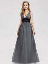 Women'S A-Line Deep V-Neck Evening Party Maxi Dress Ep07880-Grey 1