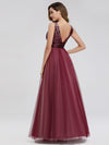 Women'S V-Neck Sequin Dress Patchwork Evening Party Dresses Ep07910-Burgundy 2