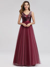 Women'S V-Neck Sequin Dress Patchwork Evening Party Dresses Ep07910-Burgundy 3