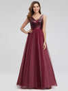 Women'S V-Neck Sequin Dress Patchwork Evening Party Dresses Ep07910-Burgundy 1