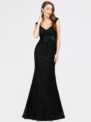 Ever-Pretty Slim Fit Shiny Black Lace Dresses for Women EP07919
