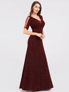 A-Line V-Neck Short Sleeve Sequins Evening Dresses Ep07925-Burgundy 3