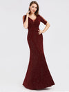 A-Line V-Neck Short Sleeve Sequins Evening Dresses Ep07925-Burgundy 4
